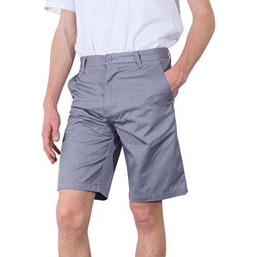Striped Seersucker Bermuda Shorts (Mens Shorts | Burnside Basic Solid Twill Chino Cell Phone Pocket Short (36, Heather Grey))