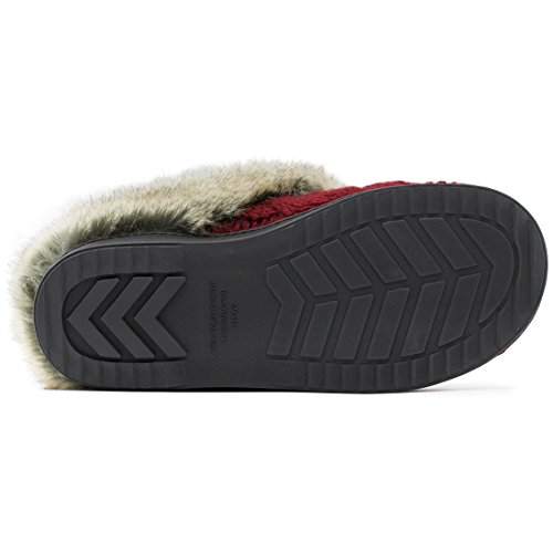 amp; Sole Women's w Anti House Soft Skid Fur Outdoor Shoes Collar Foam Slippers Cable Memory Red Knit Indoor Faux Yarn wRSTxCwqp