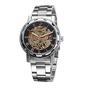 ZA Men's Military Watch Automatic Self Wind Analog Water Resistant/Hollow Engraving(Delivery color random)