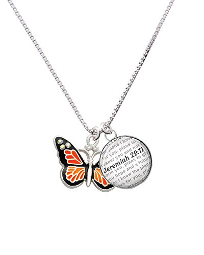 Silvertone Large Monarch Butterfly with 6 AB Crystals - Bible Verse Jeremiah 29:11 Glass Dome Necklace, 18