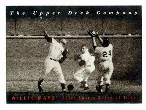 Willie Mays baseball card The Catch (New York Giants) 1994 Upper Deck Heroes #17