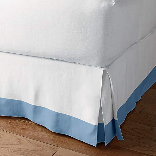 Classic Box Pleated Bed Skirt Dust Ruffle Tailored Styling (White/Light Blue,Full - 12