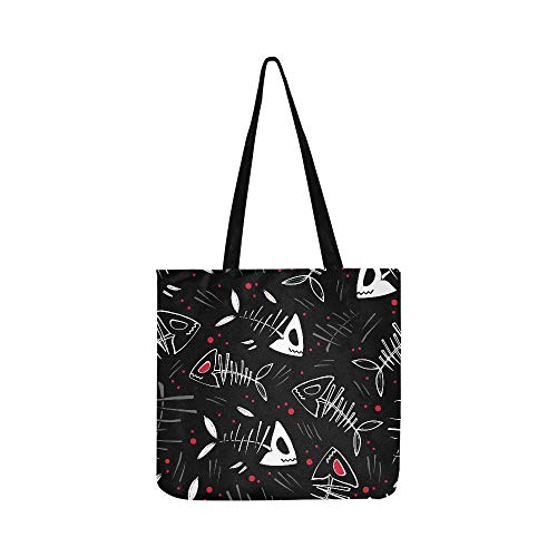 Vector Halloween Pattern With Skeletons Of Fish An Canvas Tote Handbag Shoulder Bag Crossbody Bags Purses For Men And Women Shopping Tote