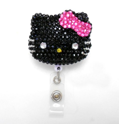 (LOVEKITTY - 3D Blinged Out Black Face Hot Pink Bow Hello Kitty Inspired Rhinestone Badge Reel / Name Badges / ID Badge)