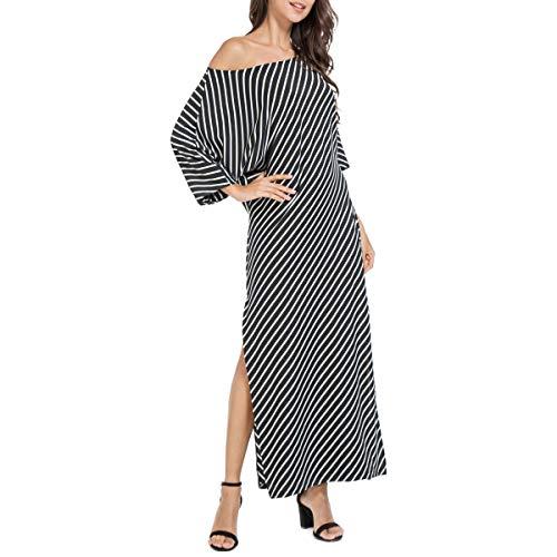 (JTANIB Women's Striped Kaftan Maxi Dress, Irregular Slit Casual Half Sleeve Loose Beach Sundress,Black S)