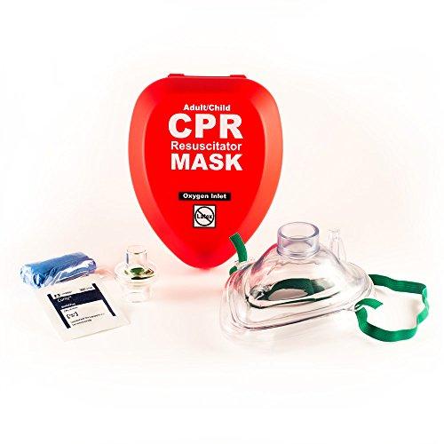 Victim Mask (Adult/Child CPR Pocket Resuscitator Mask in Hard Case with Gloves & Wipe and belt clip)