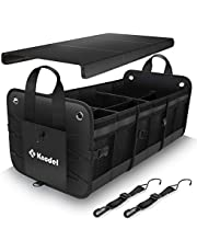 Knodel Car Trunk Organizer, Foldable Cover, Heavy Duty Collapsible Car Trunk Storage Organizer, Car Cargo Trunk Organizer with Lid, 3 Compartments, with Straps