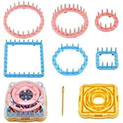 EOPER Round+Square Knitting Loom Set, 2 Sets Knitter Knitting Flower Loom Flower Daisy Pattern Maker Wool Yarn Needle Knit Make Embellishments for Hat Scarf Shawl Sweater Sock Blankets Random
