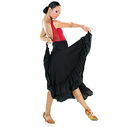Danzcue Adult 2 Ruffles Flamenco Dance Skirt, Black, Large