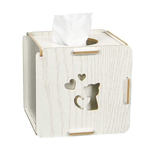 Zeroomade Square Tissue Box Cover Wooden Square Tissue Box Holder for Bathroom Bedroom Office 5 X 5 X 5 inches White Oak