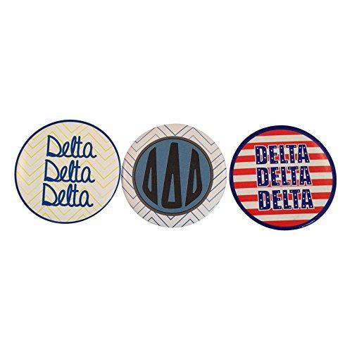 Delta Delta Delta Tri Delta Sorority Variety of 2 Inch Round Pinback Buttons (3 Different Buttons) Officially (Calvin Klein Variety Sets)