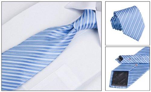 Coffret Cadeau Ensemble Cravate homme, Mouchoir de poche, épingle et boutons de manchette Rayures Bleues et Argentées