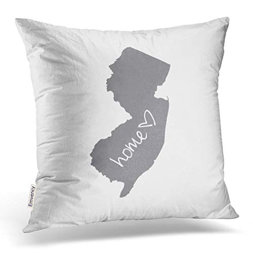 Emvency Throw Pillow Cover Home New Jersey Decorative Pillow Case Love Home Decor Square 20 x 20 Inch Cushion Pillowcase ()