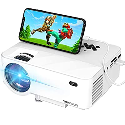 """Mini Projector, TOPVISION Projector with Synchronize Smart Phone Screen,1080P Supported, 176"""" Display, 50,000 Hours Led, Compatible with Fire Stick,HDMI,VGA,USB,TV,Box,Laptop,DVD"""