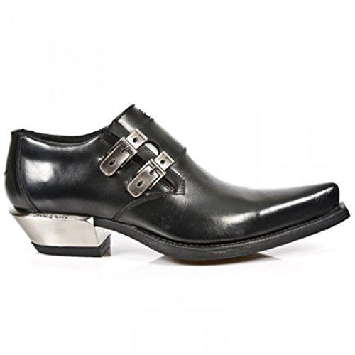 Nuovo NEWROCK Rock 7934 nero metallizzato in pelle con fibbia in acciaio West scarpe con il tacco scarpe bagagliaio