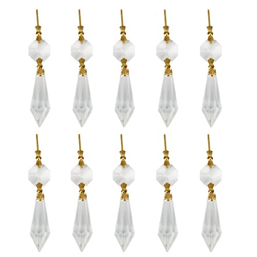 (HUELE 20pcs 38mm Replacement Clear Chandelier Icicle Crystal Prisms Octogan Crystal Bead U-drop Prisms Lamp Parts Brass Connectors for Lamp Decoration)