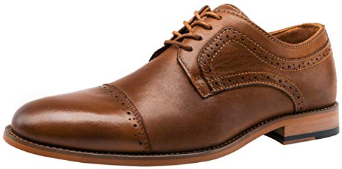 VOSTEY Men's Dress Shoes Retro Leather Cap Toe Formal Oxford Shoes (11,Yellow Brown)