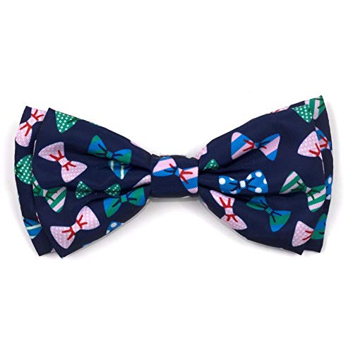 The Worthy Dog Bow Ties Pattern Comfortable Casual Bow Tie Cute Dog Accessories Fit Small Medium and Large Dogs – Navy Color