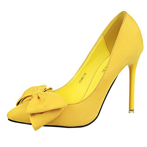 Toe Stiletto Bowknot HooH Women's Pointed Pumps Yellow OwcFFtqf7