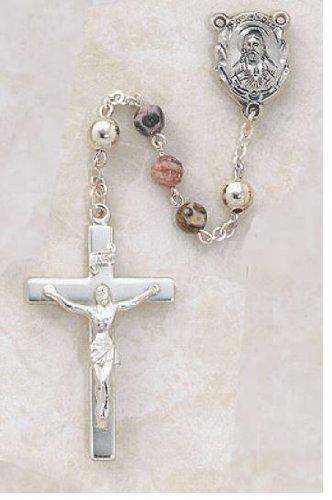 Sterling Silver Semi-Precious Leopard Skin Rosary-Silver Centerpiece 6MM Leopard Skin Bead 1 5/8