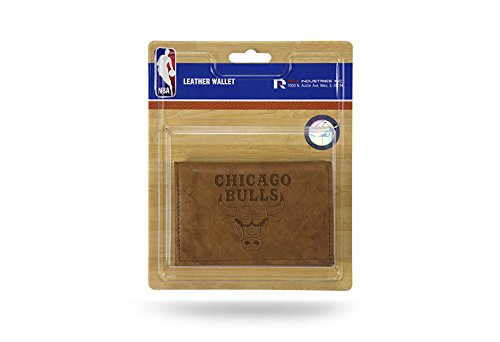 Rico NBA Chicago Bulls Embossed Leather Trifold Wallet with Man Made Interior