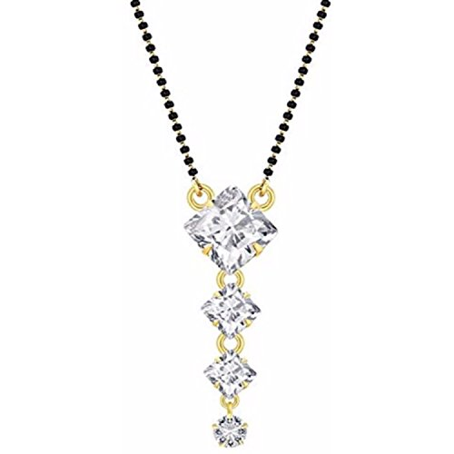 Efulgenz Indian Solitaire Gold Plated White American Diamond Mangalsutra Pendant with Chain for Women (Graduated Diamond Pendant)