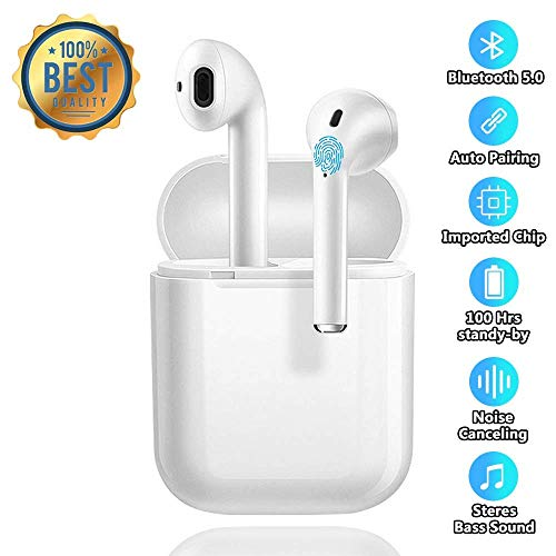 Wireless Earbuds Bluetooth 5.0 Headsets Noise Canceling Sports Headphones with【24 Hrs Charging Case】 IPX5 Waterproof 3D Stereo Earphones Pop-ups Pairing for iPhone Apple Airpods One Plus