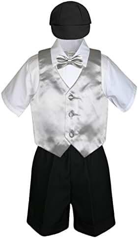 5pc Baby Toddlers Boys Silver Vest Bow Tie Black Shorts Suits Cap S-4T (XL:(18-24 months))