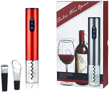 Mefeny Juego de Abrebotellas Eléctrico Juego de Abridor de Botellas de Vino para El Hogar Juego de Cuatro Abridores de Vino (Modelos con Batería) - Rojo