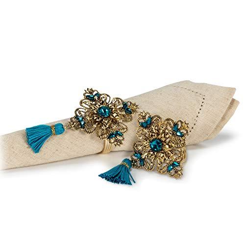 Abbott Collection 27-TIFFANY-909-TURQ Crystal &Tassel Napkin Ring-3