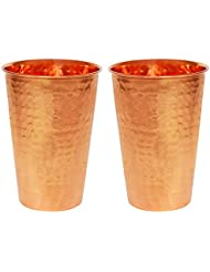 ITOS365 Copper Tumbler Hammered Drinking Glasses for Healing Ayurvedic Product - Set of 2