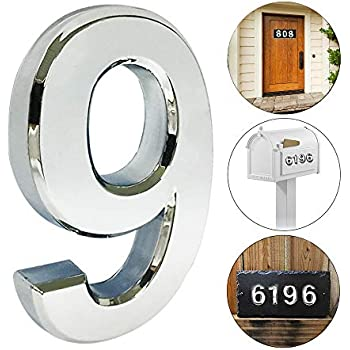 iMustech Mailbox Numbers, Solid Self-stick Number 9 for Mailbox, Door, Apartment, Hotel, 2-3/4 Inch, 3D Metal Silver, 2 Pcs/Set