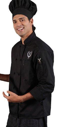 Ed Garments Ten Knot Button Chef Coat, BLACK, X-Large. 3302 - 10 Black Knot Button
