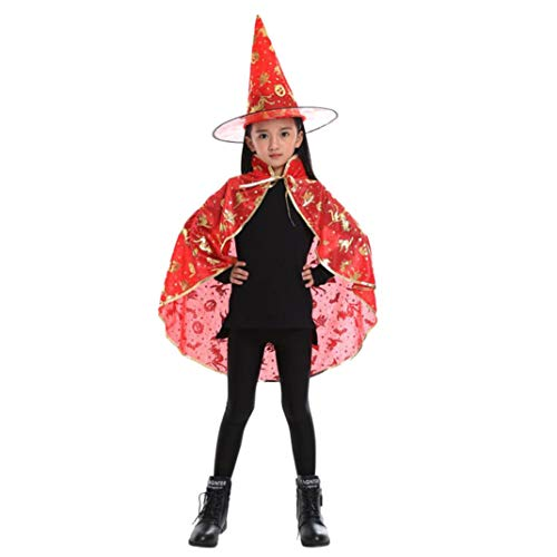 iLH 2018 Role Play Costume, Kids Adult Halloween Cosplay Cloak Robe+Hat Sets Wizard Witch Cloak Cape (Cloak 26.7''_Hat 14.1'', Red)