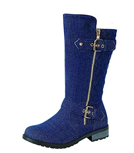J.J.F Shoes Kids Girls Mango21 Dual Buckle/Zipper Quilted Mid Calf Motorcycle Boots (10 M US Toddler, Blue Denim)