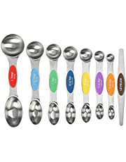 Magnetic Measuring Spoons Set Stainless Steel Dual Sided Teaspoons and Tablespoons,Fits in Spice Jars,Set of 8 for Measuring Dry and Liquid Ingredients