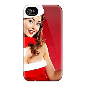 Quality Jeffrehing Case Cover With Santa Girls Red Nice Appearance Compatible With Iphone 4/4s