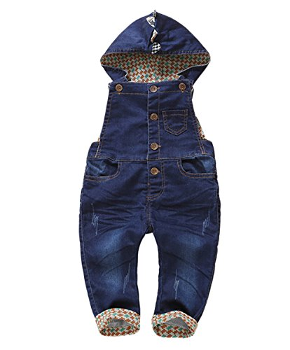 Kidscool Baby Boys/girls Cartoon Style Cardigan Denim Overalls with Hat