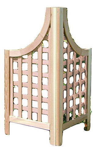 Nice Wooden Cedar Corner Garden Trellis With Lattice Panels