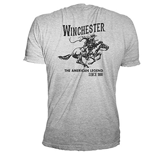 Winchester Official Men's Vintage Rider Graphic Printed Short Sleeve T-Shirt (2XLT, Heather Grey)
