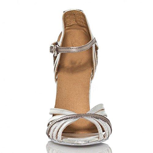 grau schuhe sandalen gürtelschnalle open soft soles C samba tango latein silber tanz thin toe leder frauen salsa heels high ballsaal FqSxwgXtg