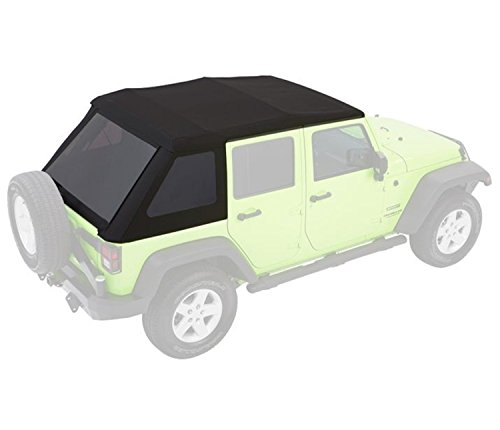 Bestop 54923-35 Black Diamond Trektop NX Glide Convertible Soft Top for 07-17 Wrangler Unlimited 4-Door