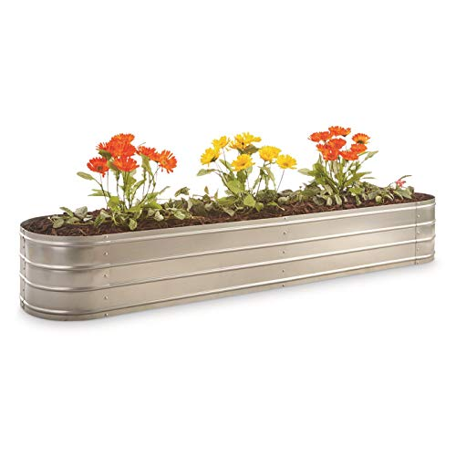 - CASTLECREEK Large Oval Galvanized Steel Planter Box