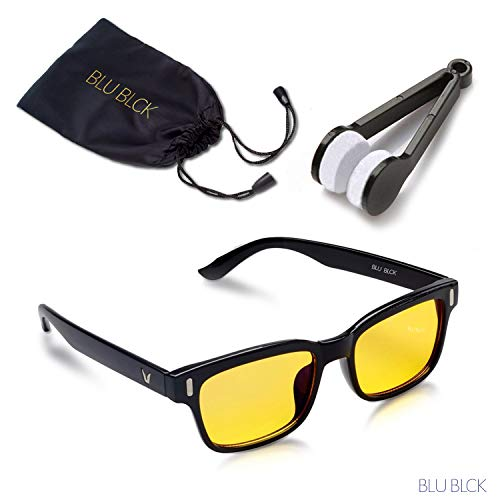 Blue-light Blocking Glasses help to REDUCE artificial blue light to help improve sleep, eyestrains from Cellphone, Computer LCD and LED, Unisex Glasses (Black Frame) by BLU BLCK