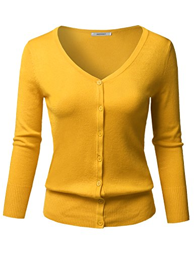 Awesome21 Solid Button Down V-Neck 3/4 Sleeves Knit Cardigan Honey Size L (V-neck Cardigan Sleeve 3/4)
