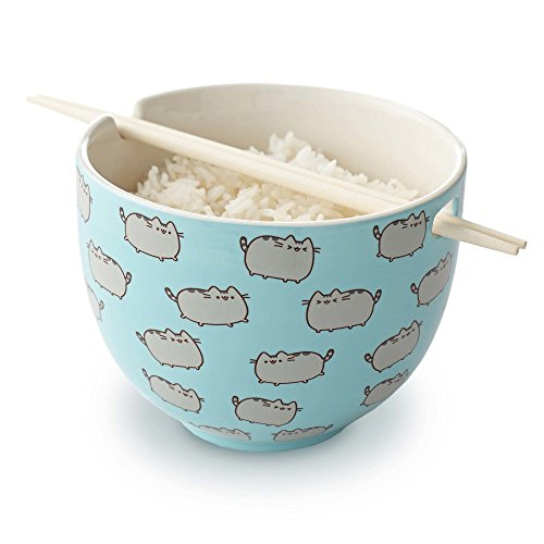Pusheen by Our Name is Mud Rice Bowl with Chopsticks Stoneware Bowl