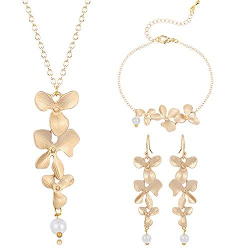Earrings Imitation Necklace Bracelet (Qiandi Jewelry Sets Orchid Flower Imitation Pearls Bracelet Earrings Necklace Gift for Girls Women)