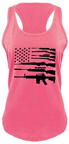 Ladies Racerback Tank Gun American Flag Shirt Patriotic USA Pride Tee Hot Pink M