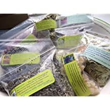 Herbal Collection: Starter 7 ~ Ravenz Roost herbs with special info on labels ~ 5 Herbs and 2 resins for Your Magick ~ 1/2 oz ea ~ Wicca ~ Spells