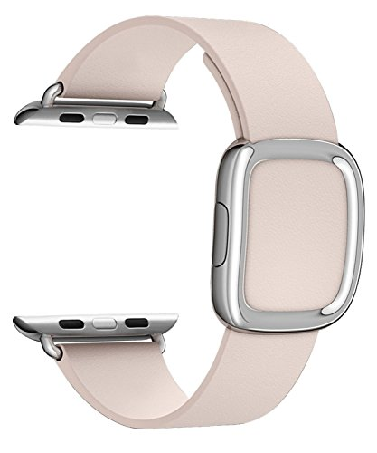 JSGJMY Apple Watch Band 38mm Cuff Leather Loop Original Modern Buckle With Magnetic Clasp Replacement Strap for iwatch Series1 Series2 (38mm Soft Pink+Sliver Buckle)